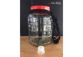 (AMORN) BREWERY JAR 10L. - โหลแก้วขนาดใหญ่ สำหรับบรรจุเครื่องดื่ม ลายผลไม้รูปสตรอเบอรี่ พร้อมเชือกหิ้วสีดำ ขนาด 10 ลิตร