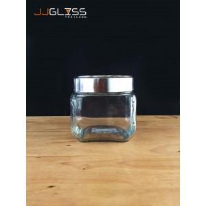 JAR 037-800ml. - โหลแก้ว เนื้อใส ทรงเหลี่ยม ฝาอลูมิเนียม ความสูง 11 ซม.