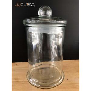 Jar D4400 Glass Cover - โหลแก้ว เนื้อใส พร้อมฝาแก้วสูญญากาศ แบบมีจุกจับ ขนาด 4,400 มล. (4.4 ลิตร)
