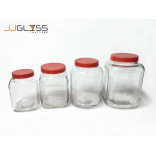 AMORN) - PICKLED JAR (REDCAP) - Handmade Colour Dozen Transparent Plastic Cover Red