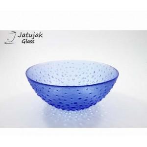 ชามโบว์ 26.5 ซม. ลายสาคูน้ำเงิน - ชามโบว์แก้ว แฮนด์เมด ลายสาคู สีน้ำเงิน 3.0 ลิตร (3,000 มล.)