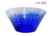 ชามโบว์ 742/26.5 ฟองเรียง น้ำเงิน - ชามโบว์แก้วปากบาน แฮนด์เมด ลายฟองเรียง สีน้ำเงิน 2.9 ลิตร (2,850 มล.)