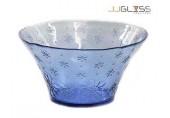 ชามลึกลายดอกไม้ 29 ซม. น้ำเงิน - ชามโบว์แก้วปากบาน แฮนด์เมด ลายดอกไม้ สีน้ำเงิน 4.2 ลิตร (4,200 มล.)