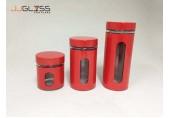 โหล OVT - โหลแก้ว แฮนด์เมด ทรงกระบอก พร้อมฝา สีแดง มี 3 ขนาด