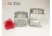 Jar 9907 - โหลแก้ว เนื้อใส ทรงเหลี่ยม ฝาอลูมิเนียม