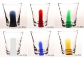 LUCE- แก้ว 732/9.5 One Line - แก้วน้ำ แฮนด์เมด รูปทรงเว้ากลาง ตัวใส ลายเส้นตรงสี 8 ออนซ์ (225 มล.)
