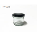 Food Glass Jars 4oz. (Black Cap) - Transparent Handmade Glass Bottles 4oz. (114 ml.)