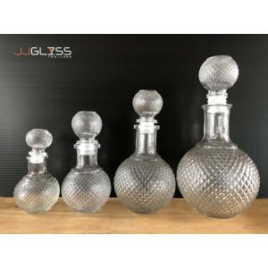 ROUND WHISKY BOTTLE - ขวดแก้วคริสตัลวินเทจ ฝาแก้วสูญญากาศ ทรงกลม มี 4 ขนาด คือ ขนาด 150 มล., 300 มล., 500 มล. และ 1,000 มล.