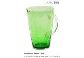 เหยือก 054 ฟอง เขียว - เหยือกแก้ว แฮนด์เมด ลายฟอง หูใส สีเขียว