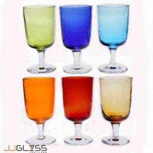 แก้วขา 17.5 ซม. ลายเย็น (N) - แก้วขา แฮนด์เมด ขาใส แบบหนา 14 ออนซ์ (410 มล.)