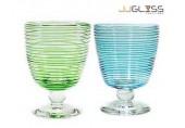 แก้วขา 12.5 ซม. พันเส้น - แก้วขา แฮนด์เมด ตัวใส ลายพันเส้น สีสวยงาม 12 ออนซ์ (350 มล.)