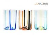 แก้ว 462/11 วีลาย - แก้วน้ำ แฮนด์เมด ทรงกระบอก ตัวใส ลายเส้นตั้ง 2 สี 12 ออนซ์ (350 มล.)