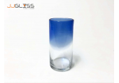 แก้ว 94-2 สี น้ำเงิน - แก้วน้ำ แฮนด์เมด ทรงกลม ปากตัด สีน้ำเงิน-ใส ความจุ 20 ออนซ์ (575 มล.)