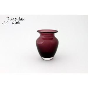 แจกัน 758/12.5 ม่วง - แจกันแก้ว แฮนด์เมด แบบหนา รูปทรงสวยงาม สีม่วง