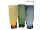 แจกันเฟลอ 30 ซม. - แจกันแก้ว แฮนด์เมด ทรงสูง ลายดอกไม้ มี3สี ให้เลือก