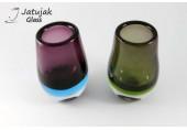 แจกันวงรี 19 ซม.-2 สี (N) - แจกันแก้ว แฮนด์เมด ทรงวงรี แบบหนา สีม่วง และสีเขียว